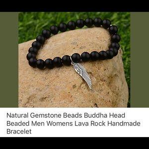 Jewelry - Natural gemstone lava rock angel wing bracelet